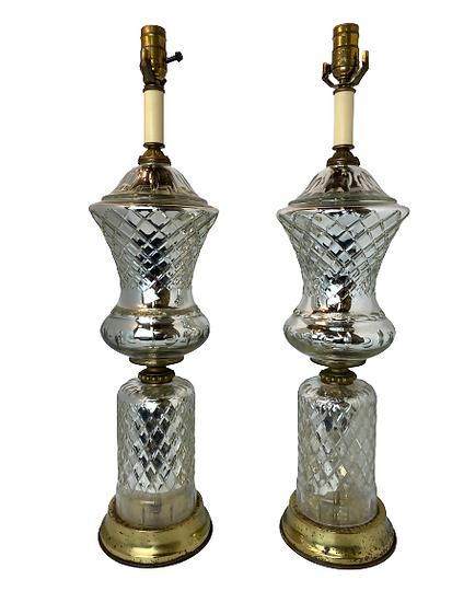 Vintage Mercury Glass Table Lamp Pair