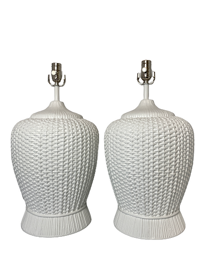 Vintage Custom Painted Woven Table Lamps