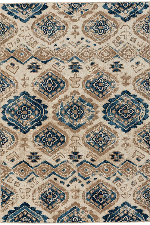 Diamond Collection Outdoor Rug in Beige Blue