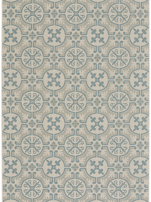Tile Collection Outdoor Rug in Spa Blue