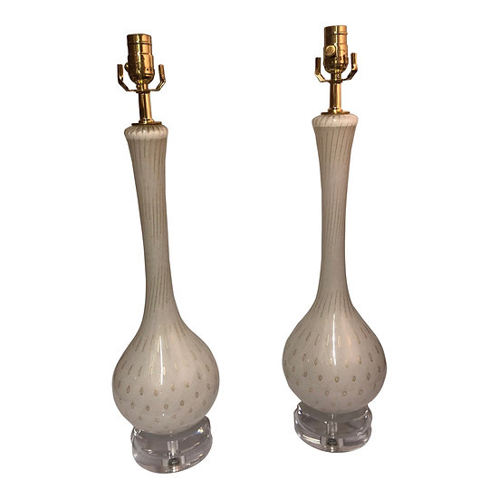 Pair of Vintage Murano Glass Table Lamps