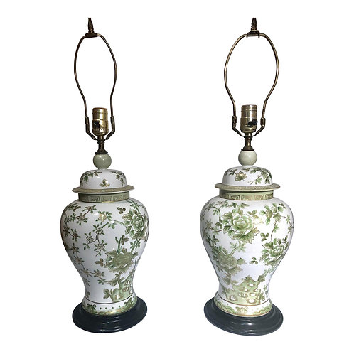 Pair of Vintage Porcelain Chinoiserie Table Lamps