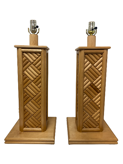 Vintage Bamboo Table Lamp Pair