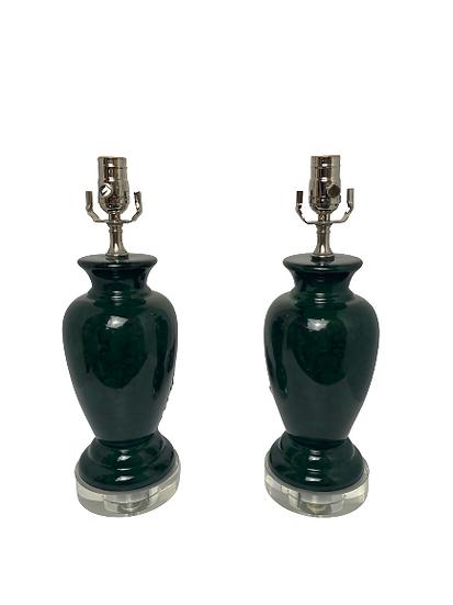 Custom Green Marbleized Table Lamps