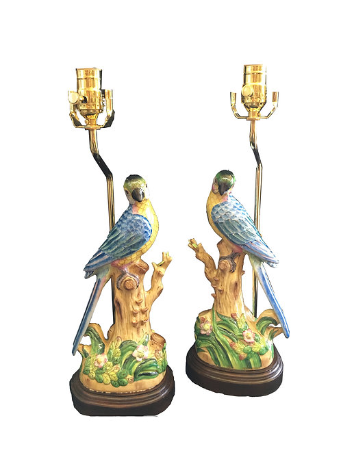 Hand-Painted Pair of Ceramic Parrot Table Lamps
