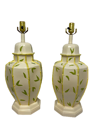 Vintage Faux Bamboo Yellow Table Lamp Pair