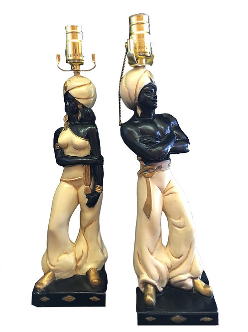 Hand-Painted Pair of Nubian Genie Chalkware Table Lamps