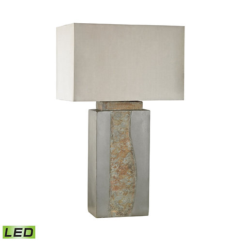Slate & Inlaid Stone Outdoor Table Lamp with Taupe Sunbrella Shade