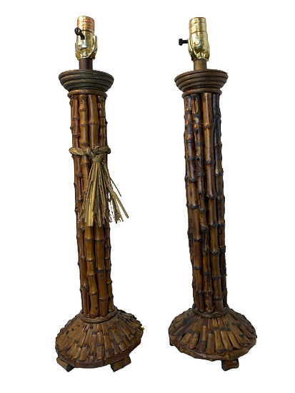 Vintage Faux Bamboo Table Lamps