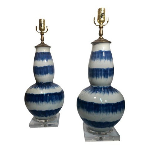 Pair of Custom Blue & White Tie-Dye Table Lamps