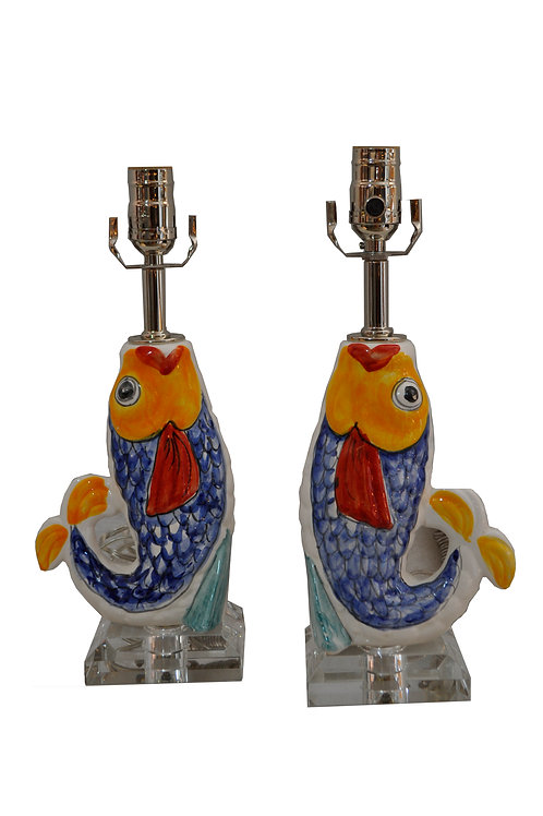 One-of-a-kind Pair Ceramic Fish Table Lamps