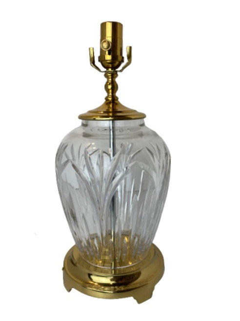 Vintage Crystal and Brass Table Lamp