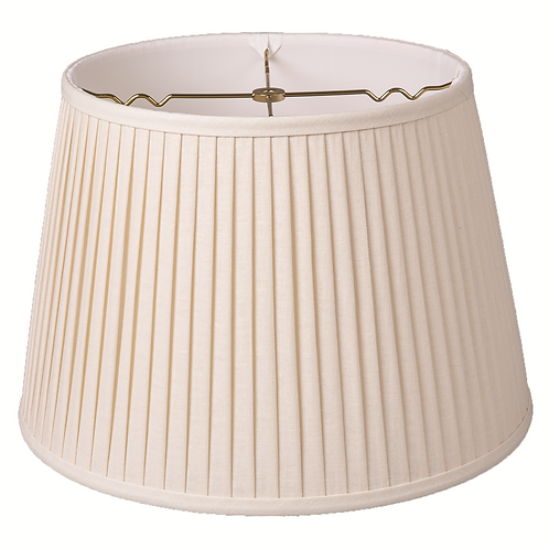 "Slubless Linen British Empire Knife-Pleated Lampshades (10-18"") in Egg"