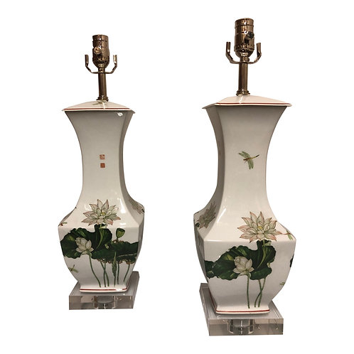Pair of Vintage Porcelain Lotus Chinoiserie Table Lamps