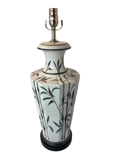 1970's Black and White Painted Bamboo Table Lamp