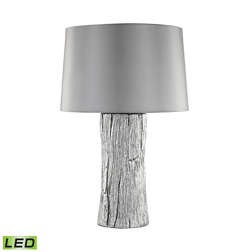 Silver Leafed Faux Wood Outdoor Table Lamp with Gray Sunbrella Shade