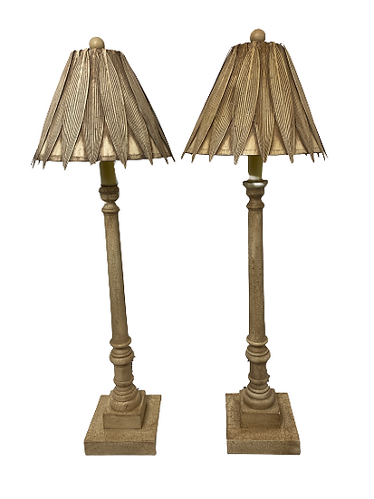 Vintage Candle Table Lamp Pair