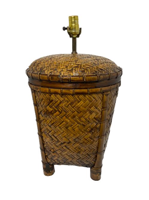 Vintage Woven Rattan Table Lamp