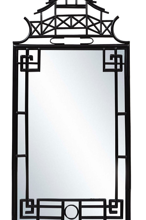 Extra Large Pagoda Mirror in Black, Red, and Gold Leaf