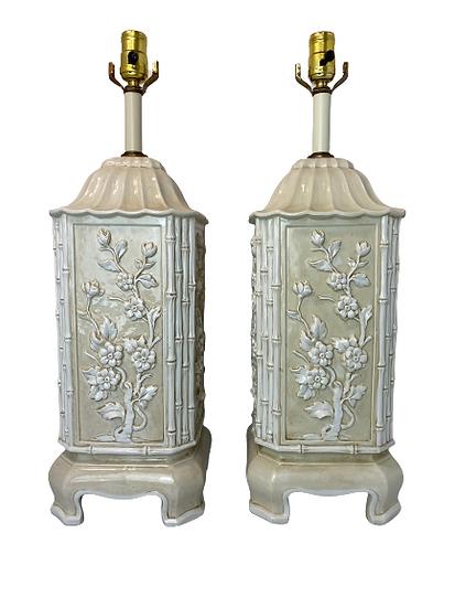 Italian Floral Bamboo Table Lamp Pair