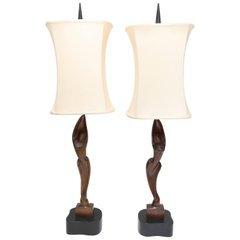Vintage 1960s Vintage Heifetz Opposing Male/Female Statuette Lamps
