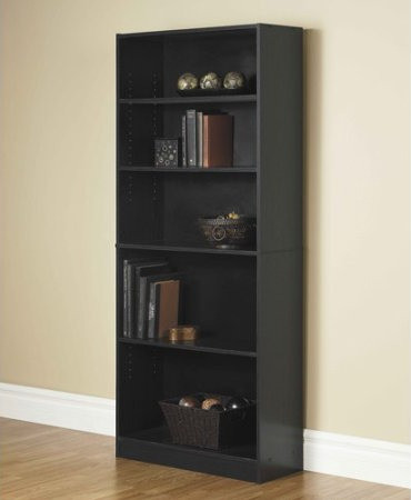 Walmart standard black bookshelves