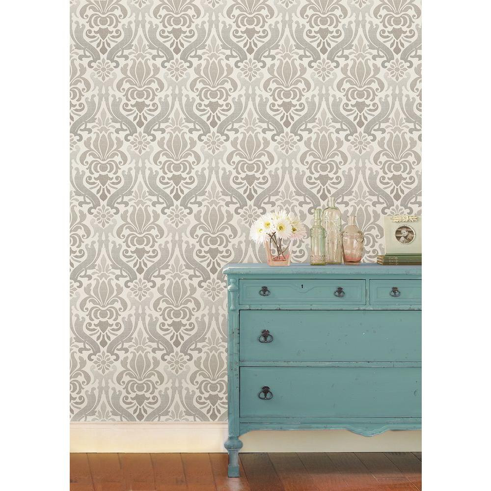 damask grey peel and stick wallpaper