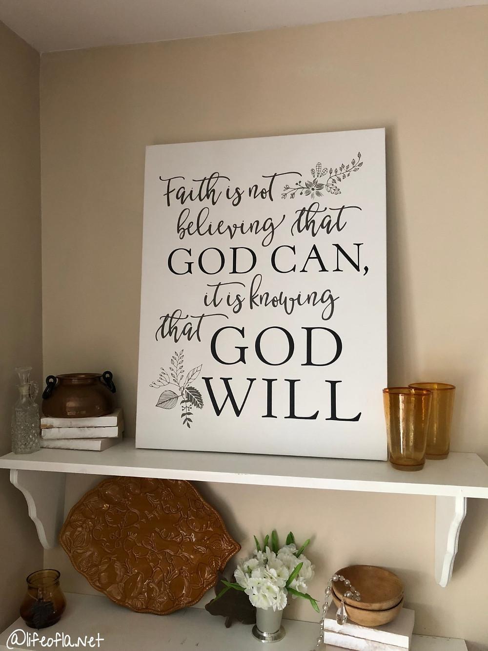 Faith is print on diy wood shelves