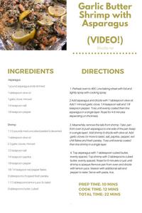 Garlic Butter Shrimp with Asparagus Printable Recipe