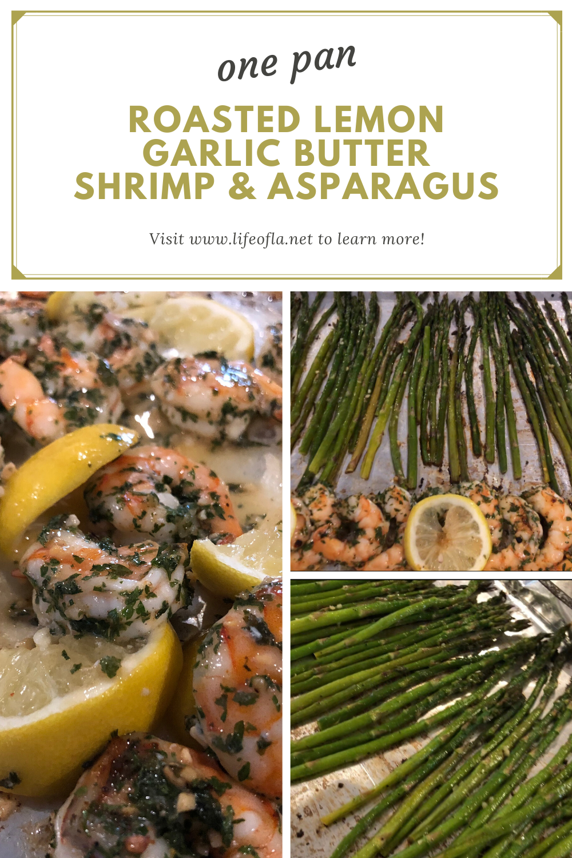 one pan Roasted lemon garlic butter shrimp & asparagus