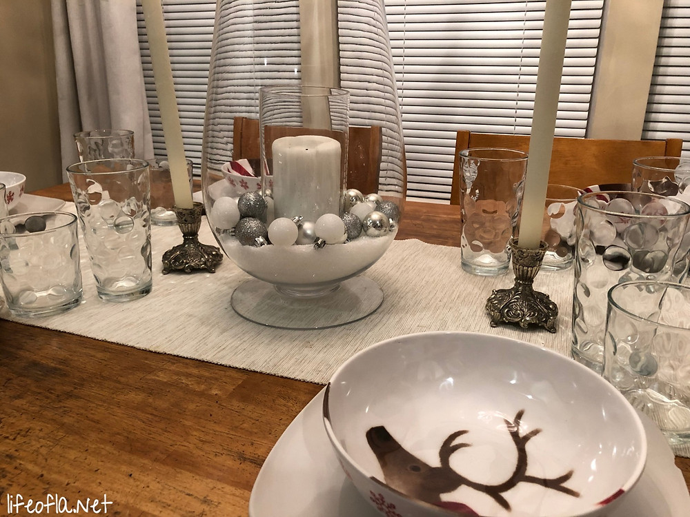 close up of christmas tablescape