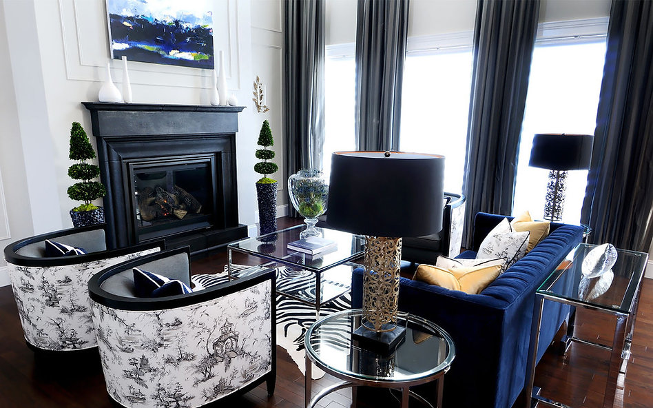 Bold Navy & Black Interior Designer Living Room