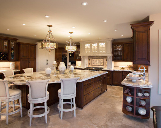 Traditional kitchen with under cabinet lighting