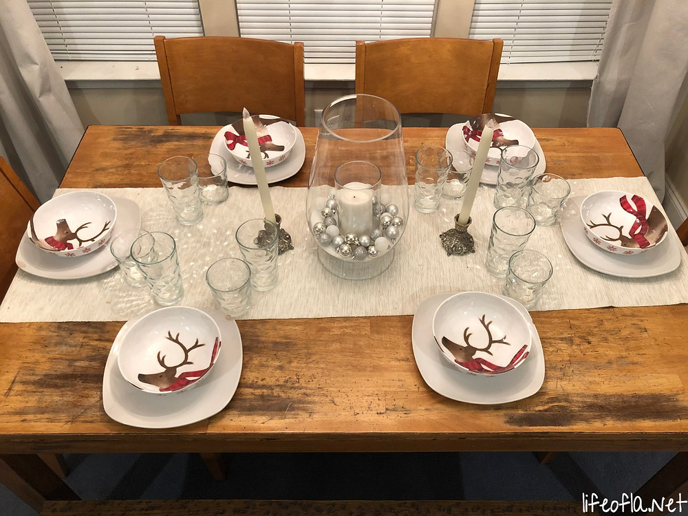 Christmas reindeer tablescape