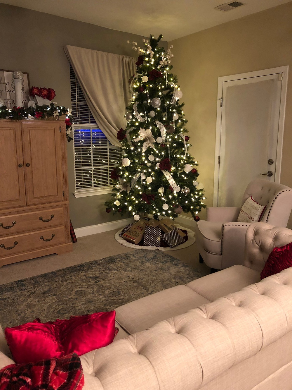 Christmas formal living room at night
