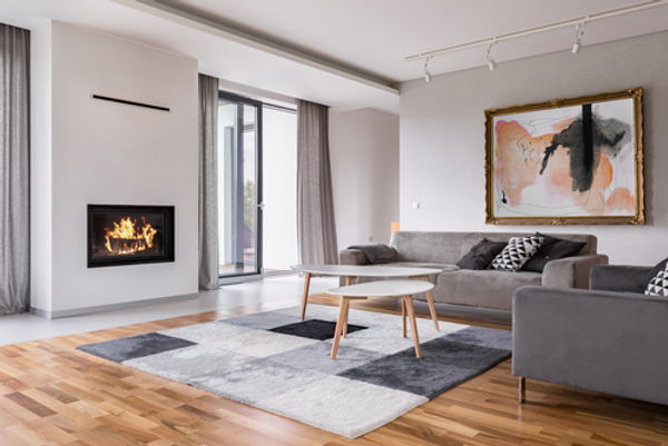 Modern living room with fireplace_ sofa_