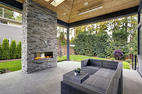 New modern home features a backyard with