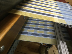 woven band pattern runner on loom