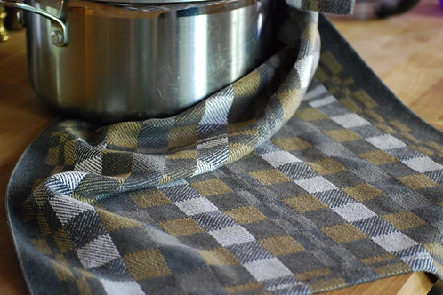 Charcoal Khaki Squares Tea Towel