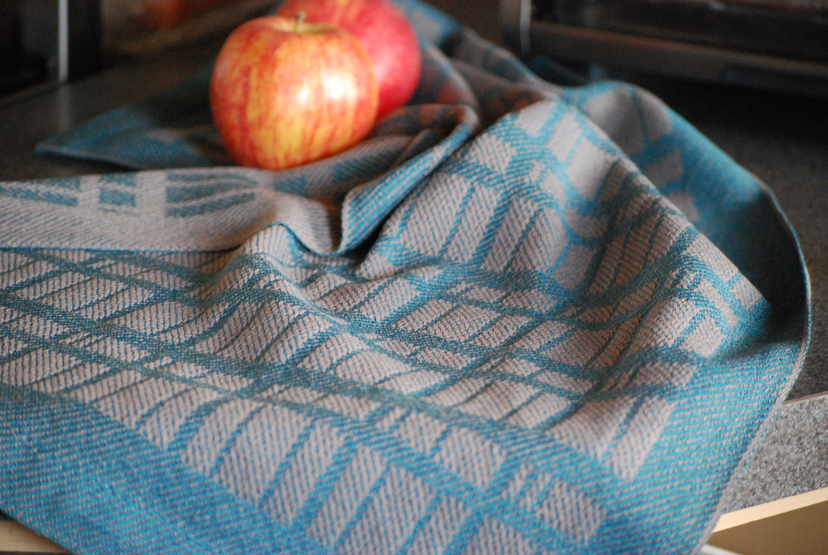 stone wall tea towel in teal