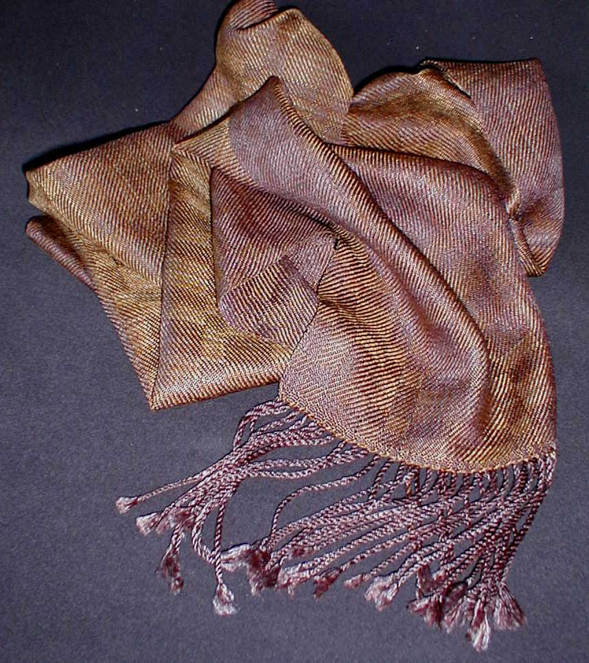 hand dyed reeled silk scarf