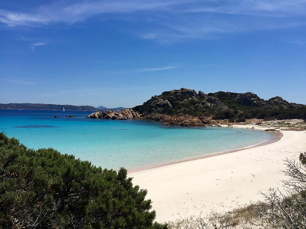 Pink Beach (Spiaggia Sosa) in Sardinia Italy.