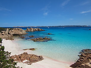 Spiaggia Rosa (Pink Beach) is a famous beach in Sardinia on Budelli island in Italy