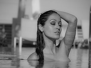 Female model in a spa pool in Miami Beach
