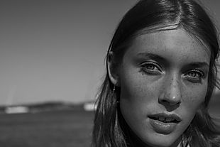 Black and white Headshot portrait of female model