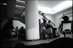 Civilians sleep in the basement of t