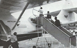 Boarding the PBY in St. Thomas