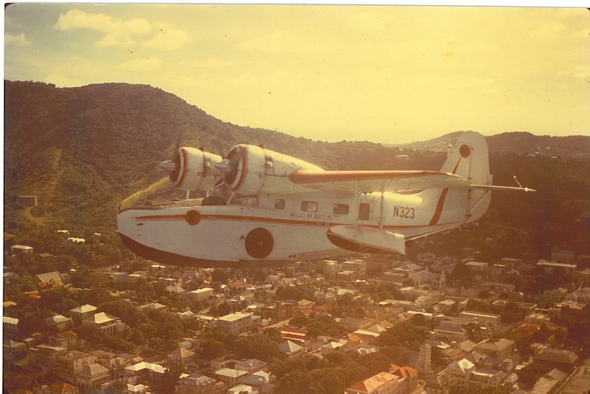 N323 flying over Christiansted, STX
