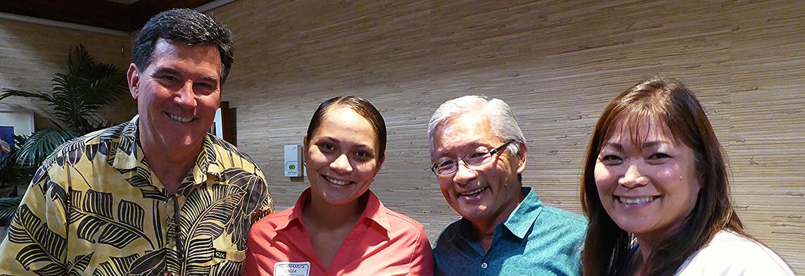Dr. Dave Evans, Talamanu'a Togia, Ted Sakai and Sheryl Fushino-Nishida / KCC