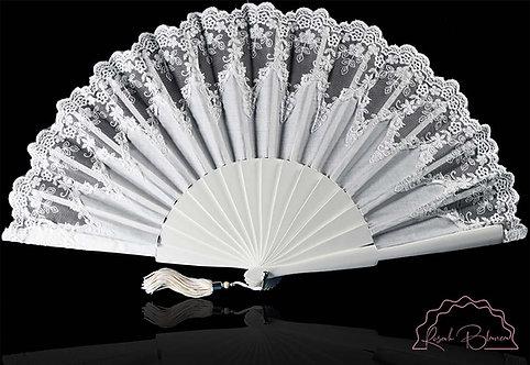 Fidelidad - éventail de mariage, blanc en bois, coton et dentelle